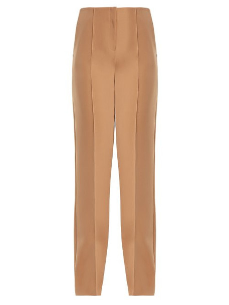 Diane Von Furstenberg - High Rise Straight Leg Crepe Trousers - Womens - Camel