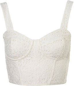 Topshop cream broderie lace crochet bralet crop top bustier size 14