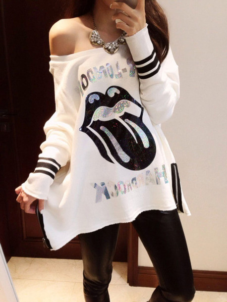 sweater oversized sweater bag black and white