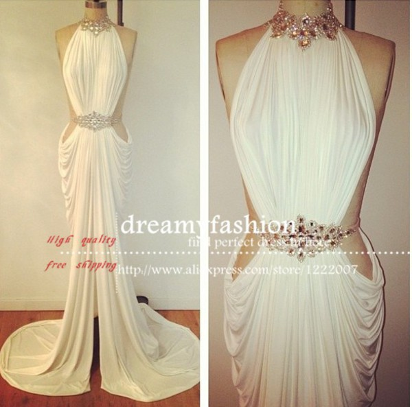 white dress fashion mermaid prom dress sexy dress Michael Costello vestido de festa long evening dress beaded prom dress high neck