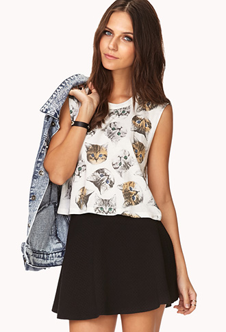 Cat Print Crop Top | FOREVER 21 - 2000051561