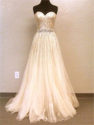dress cream sequin prom dress