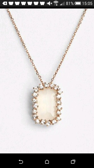 jewels white stone gold chain necklace