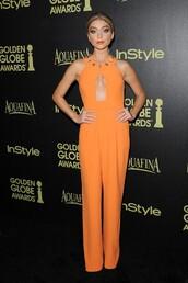 jumpsuit,orange,sarah hyland,pants,top