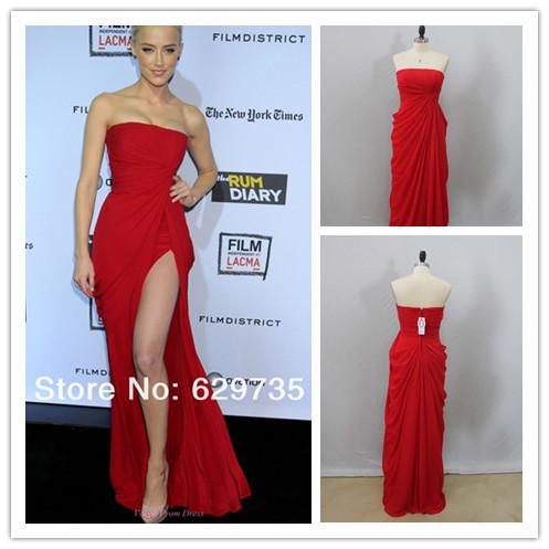 mejor venta de 2014 vaina vestido de gasa largo imagen real alfombra roja vestidos vestidos de celebridades