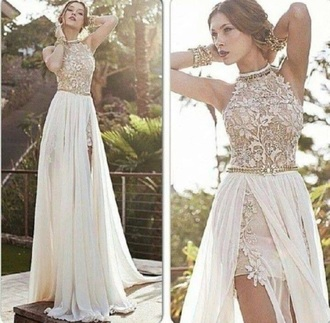 dress creme colored lace top chiffon skirt high low prom dresses backless dress halter top