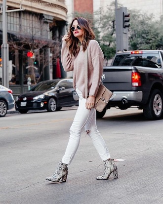 shoes boots white jeans sweater nude sweater knit snake print ankle boots jeans knitted sweater
