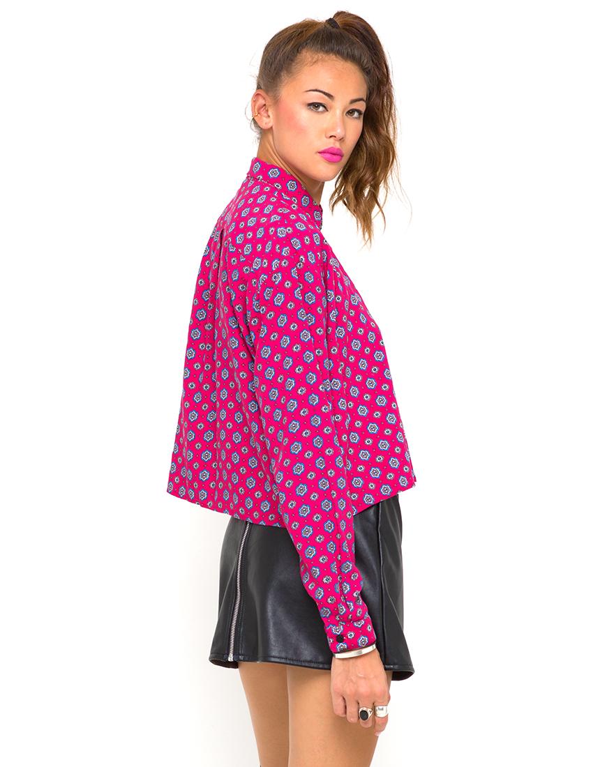 Buy Motel Leela Oversized Batwing Shirt in Windsor Raspberry at Motel Rocks