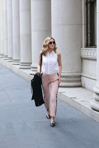 the classy cubicle blogger pants shirt jacket bag jewels sunglasses