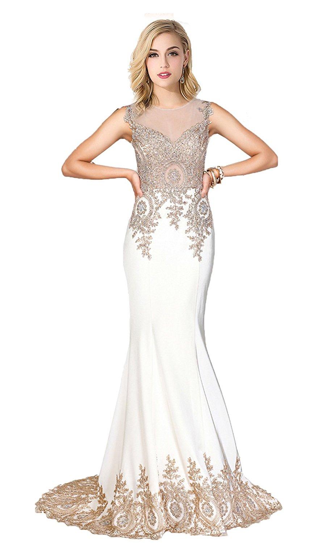 6bf52167ef3 Amazon.com  Babyonline Trumpet Long Evening Dress Lace beads ...