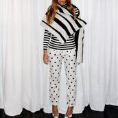pants,polka dots,sweater,beyonce,coat,cape,shoes,top,polka dots capri pants