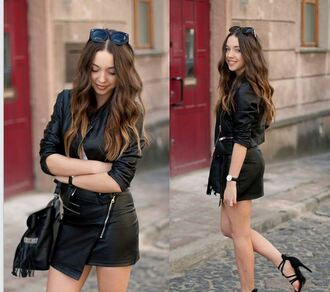 coat leather cool jacket women's high waisted fashion black skirt slim sexy cardigan top casual bad girls club