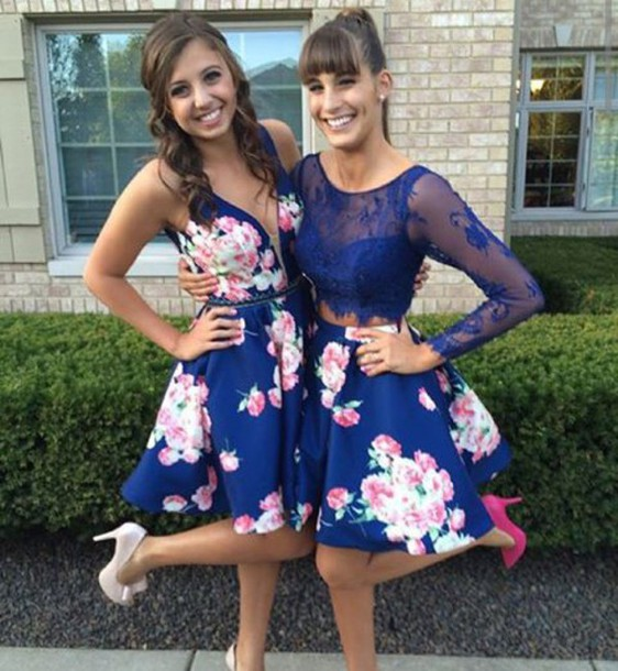 Short Homecoming Dresses Floral