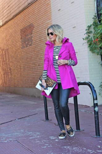 the courtney kerr blogger jacket bag sunglasses jewels purple coat pouch necklace striped sweater leopard print