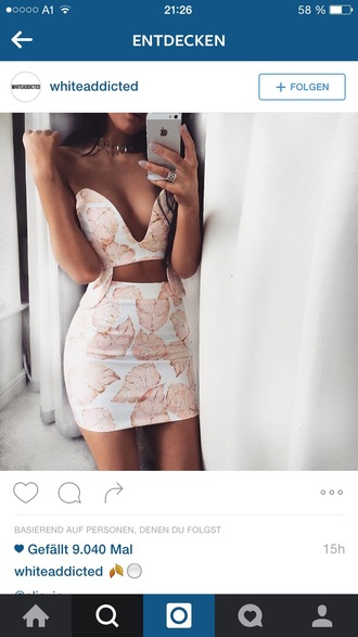 skirt sexy white skirt leaf print cropped sexy skirt white skirt crop tops