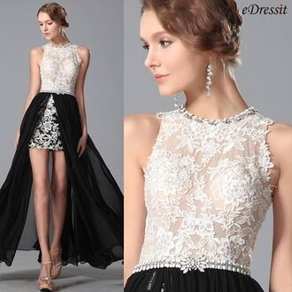 dress edressit fashion beautiful black white party evening dress