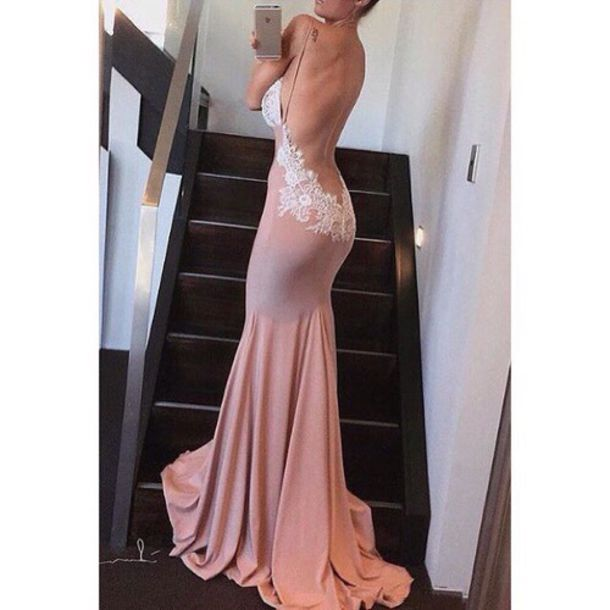 dress, blush pink, prom dress, long dress, gown, mermaid, backless ...