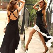 dovetail,dovetail dress,dovetail dresses,black dress,backless dress,backless,Hem Tank Swallow,taille haute,Tail dress,irregular dress