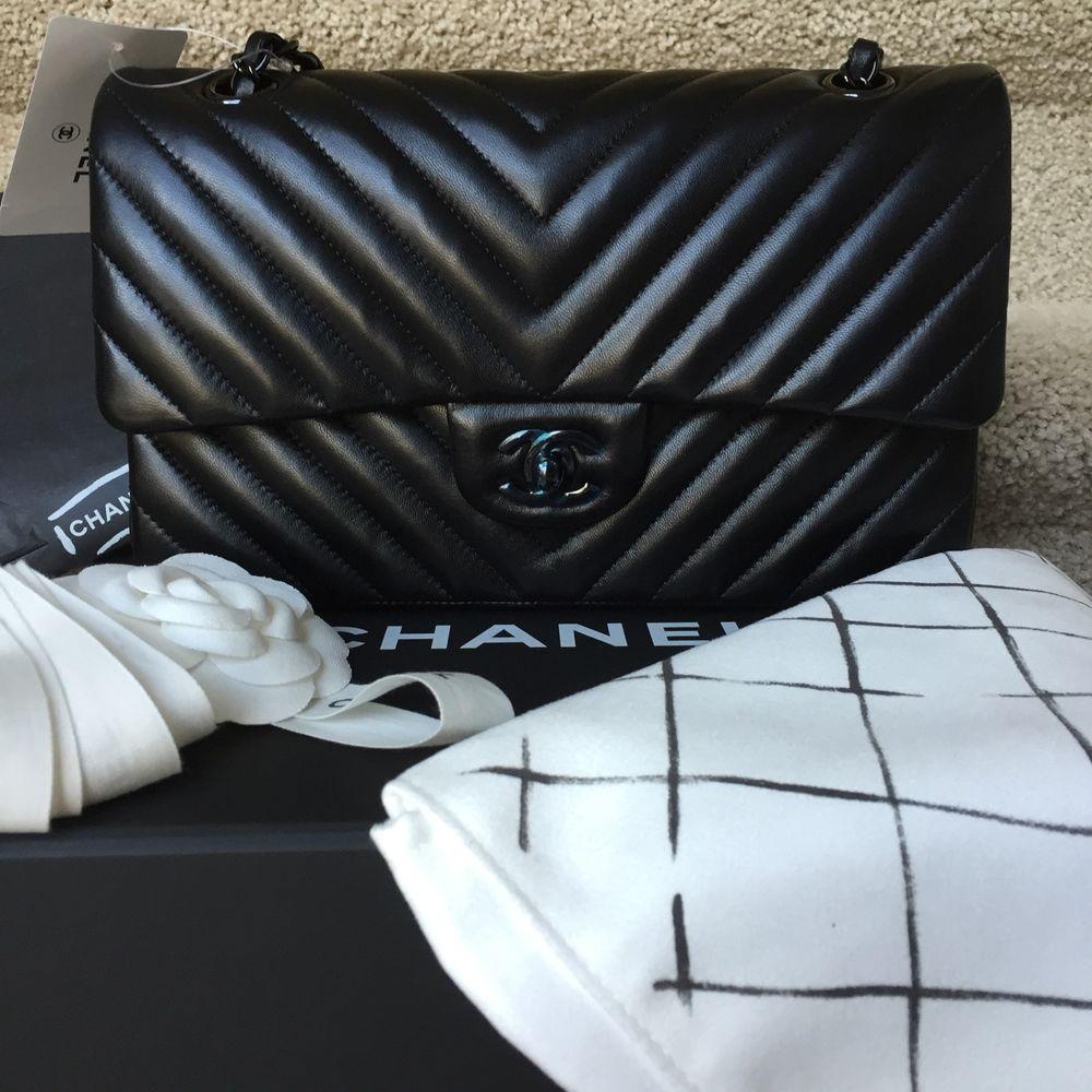 f04ece946dff Authentic Chanel So Black Medium BNIB Flap Bag Lambskin Chevron Classic bag