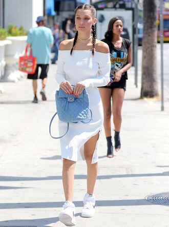 dress off the shoulder white white dress bella hadid model off-duty sneakers braid hairstyles backpack chanel bag nike shoes