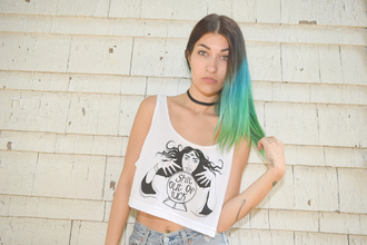 top graphic tee graphics design white black tank top shirt summer festival crop tops crop loose comfy fortune teller crystal ball shit out of luck luck funny green hair boho punk hippie streetwear grunge