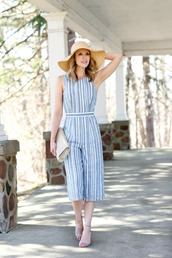 pennypincherfashion,blogger,jumpsuit,hat,bag,shoes,cropped jumpsuit,blue jumpsuit,spring outfits,summer outfits,straw hat,sandals,high heel sandals,big hat,tumblr,sun hat,stripes,striped jumpsuit,open back,backless