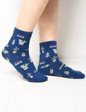 socks,blue cactus print socks,cactus print,cactus,cute socks,holiday socks,holiday gift