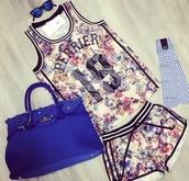 top,shorts,jersey,floral,jersey tee shirt,pants