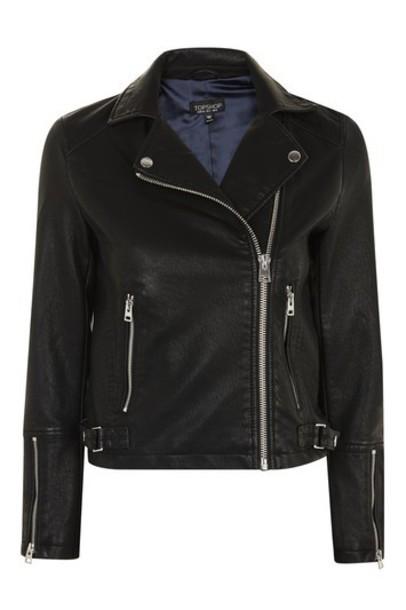 Topshop jacket biker jacket black