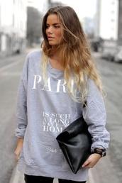 shirt,sweatshirt,long sleeve tee,skreened,jacket,grey,paris,home decor,love,sweater