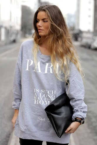 shirt sweatshirt long sleeve tee skreened jacket grey paris home love sweater
