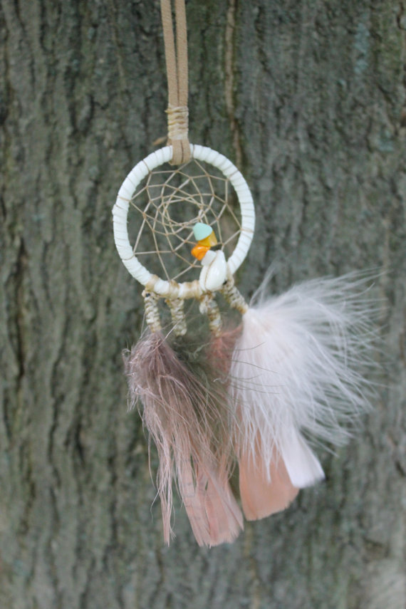White and tan summery dreamcatcher necklace with by mahikan