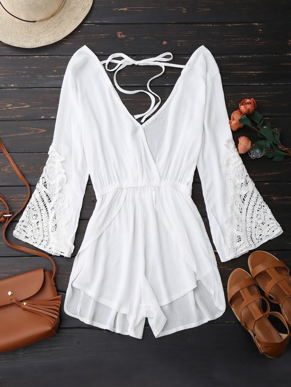 Zaful Plunge Low Back Linen Romper in white
