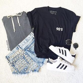 t-shirt nyct clothing shorts graphic tee denim shorts adidas shoes