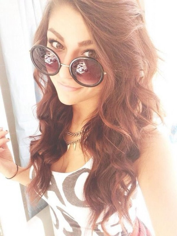 top andrea russett shirt sunglasses