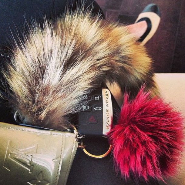 bag fur fur keychain red fall accessories bag charm bag bug keychain faux  fur f80b55268465