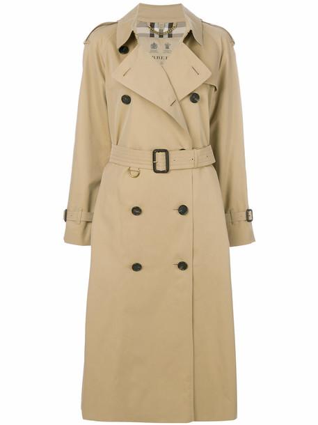 Burberry - long Heritage trench coat - women - Cotton/Viscose - 10, Nude/Neutrals, Cotton/Viscose