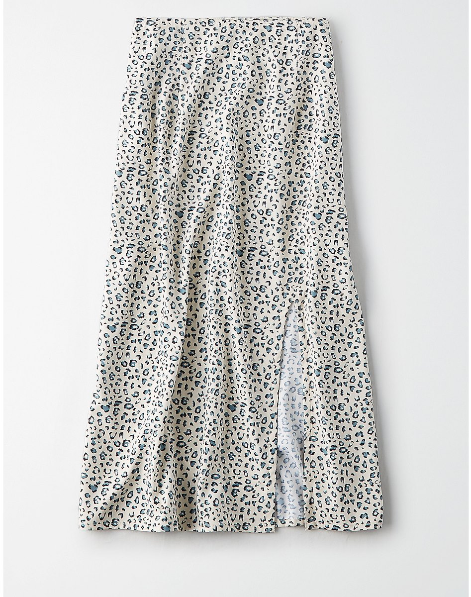 AEO Studio Leopard Midi Skirt
