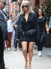 bag,shirt,all black everything,nyfw 2017,ny fashion week 2017,streetstyle,kardashians,kim kardashian