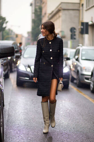 boots coat fall outfits streetstyle fashion week 2014 jacket bag