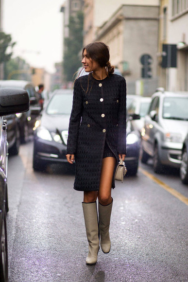 fall outfits boots coat streetstyle fashion week 2014