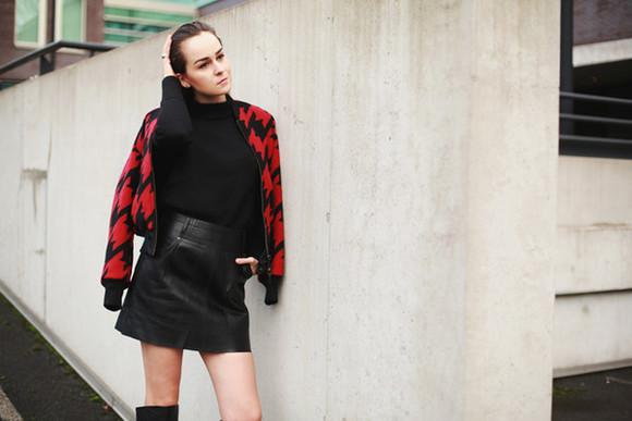 baseball jacket blogger leather skirt style scrapbook houndstooth red