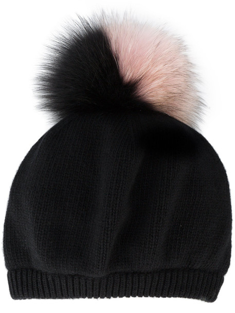 fur fox women hat black wool