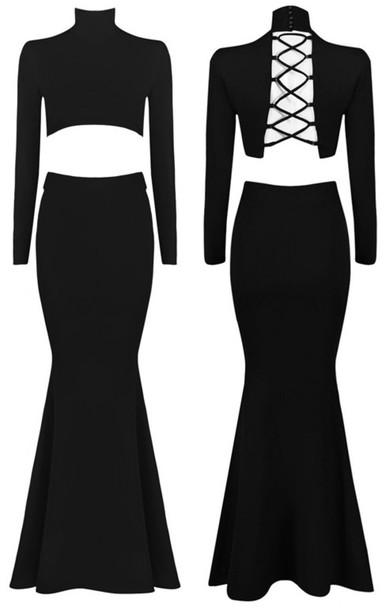 684242791e201 dress dream it wear it dress clothes clothes black black dress two piece  dress set high