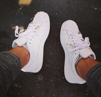 shoes gold adidas supertars white shoes