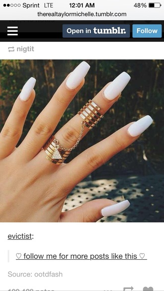 nail accessories double ring gold ring