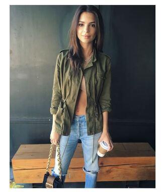 bag jacket emily ratajkowski instagram spring outfits