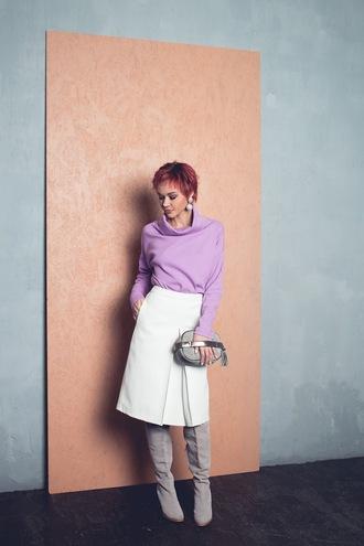 gvozdishe blogger sweater skirt bag shoes jewels turtleneck sweater midi skirt white skirt boots grey boots grey bag