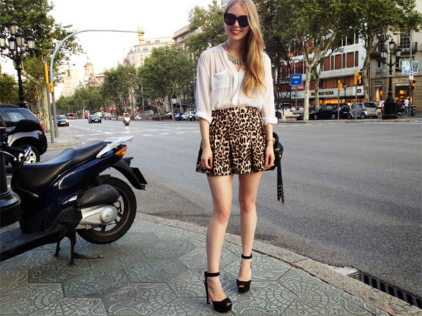 Skirt Street Style Glamour Magazine Mini Skirt High Waist Skirts High Waist Skirt Leopard
