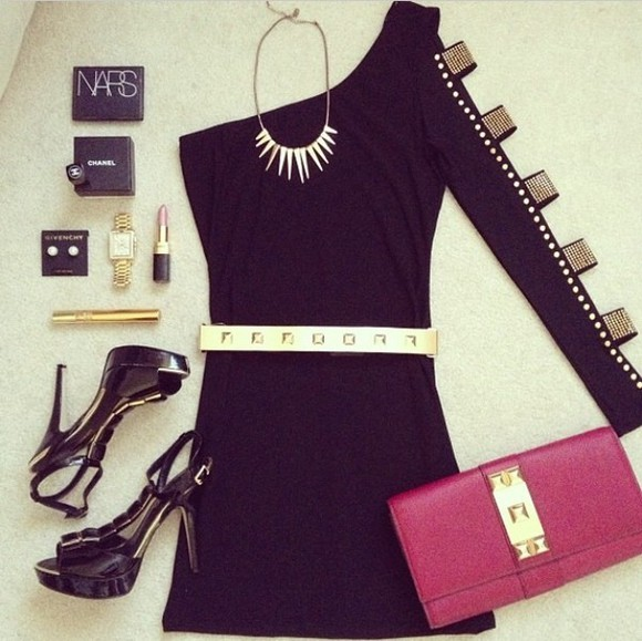 dress one shoulder little black dress